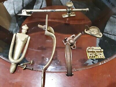 Lot Of Brass Door Hardware Handle Knocker Slide Window Latch
