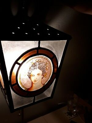 Antique Victorian Stain Glass Gas Light Cover / Shade