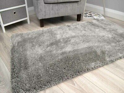 Thick Grey Shaggy Rugs Small Large Size Silky Soft Glittery Washable Floor Mats