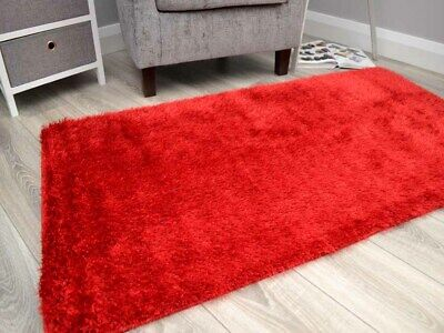 Thick Red Shaggy Rugs Small Large Size Silky Soft Glittery Washable Floor Mats