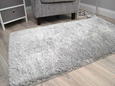 Thick Silver Grey Shaggy Rugs Small Large Sparkle Glittery Washable Floor Mats