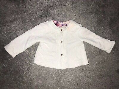 BEAUTIFUL Ted Baker Baby Girls reversable Coat 6-9 Months. Pink And White.
