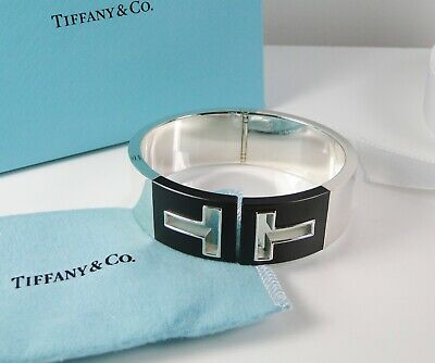 NEW Tiffany & Co T Cutout Hinged Cuff Bangle Silver & Black Ceramic- RETIRED