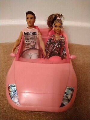 Barbie Glam Convertible pinkcar with Barbie & Ken dolls
