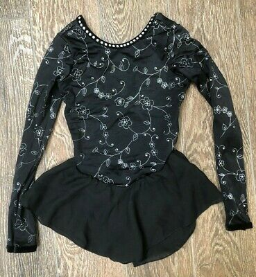 GK Elite Girls Gymnastics/Iceskating Leotard Black & Silver Long Sleeve size M