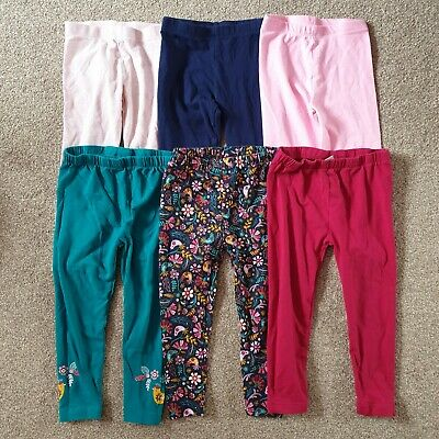 Girls 2-3 Years 6 Pairs Leggings Trousers Bundle Excellent Condition