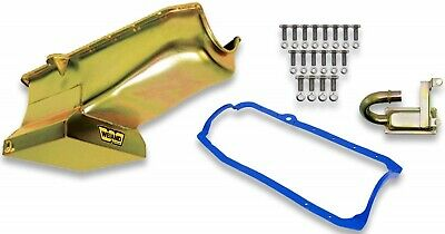 "New Weiand Oil Pan Kit,7Qt,Gold Zinc,8.25"" Depth,Drag Racing,Fits 1980-1985 Sbc"