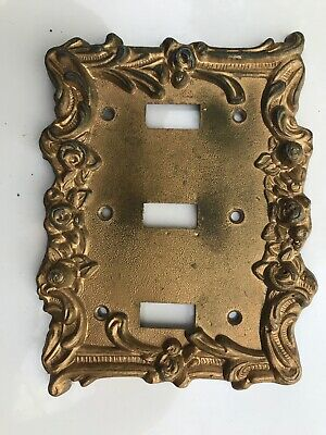 Antique Cast Iron Three Light Switch Cover Floral Ornate