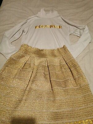 Girls white and gold boutique outfit age 10