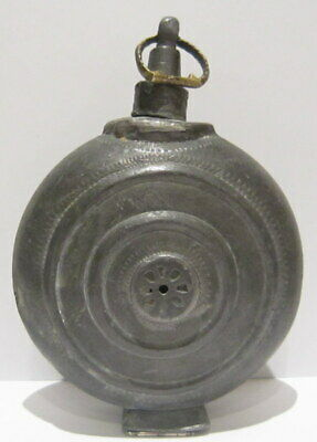 Extremely Rare Post Medieval Antique Pewter Flask-Bottle # 738