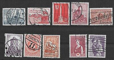 DENMARK 1936-51 Mixed Lot of 10 Used Commemorative & Postal Tax Stamps; *F-VF*