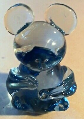 Antique Hand Blown Blue Heavy Art Glass Mouse Paperweight Figurine