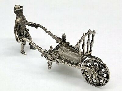 Antique Sterling Silver Miniature - Man Pushing Moving Wheeled Cart!