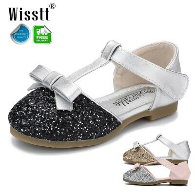 Toddler Kids Sequin Party Princess Shoes Ankle Strap Girls Glitter Dress Sandals