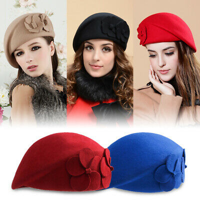 Ladies Women Vintage Wool Felt Bucket Cap Flower Berets Bowler Hat