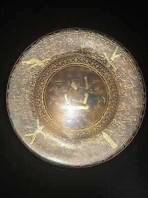 Vintage Egyptian Engraved Brass Wall Hanging Plate A.r
