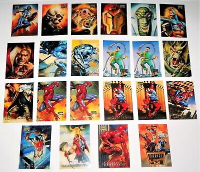 1996 Marvel Masterpieces Fleer Sky Box  Base Card Lot of  22 with Check List
