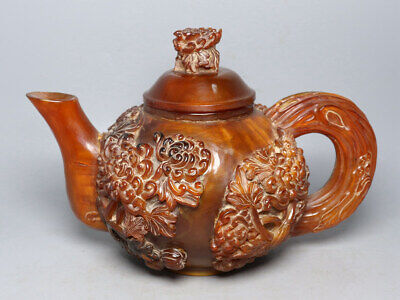 Chinese Exquisite Handmade flower carving Ox Horns teapot