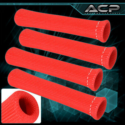 For Subaru 4-Piece 1200° Thermal Spark Plug Wire Heat Shield Sleeve Unit Red