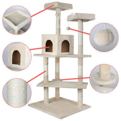 """60.75"""" Deluxe Cat Tree Condo Play Toy Furniture Kitten Pet House Scratching Post"""
