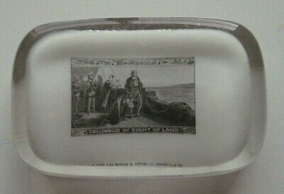 """Chicago 1893 Worlds Fair """"COLUMBUS IN SIGHT OF LAND"""" Glass Paperweight Abrams"""