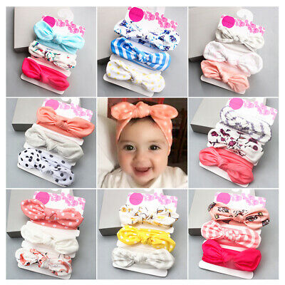 3 Pack Baby Headbands Cute Rabbit Ear Elastic Head Band Girls Bowknot Hair Band