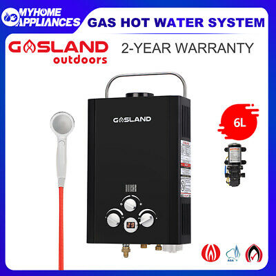 GASLAND Portable Gas Hot Water Heater Camping Shower Outdoor Pump RV 4WD Black