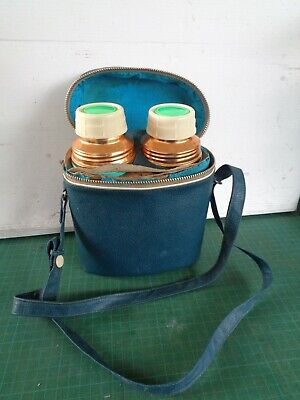 Vintage double small thermos set in case
