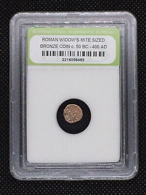 Authentic Ancient Roman Widow's Mite Sized Bronze Coin 50 BC - 400 AD ROMWMS07