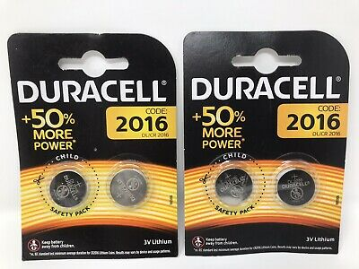 4 x Duracell CR2016 3V Lithium Coin Cell Battery 2016, DL2016 New & Sealed