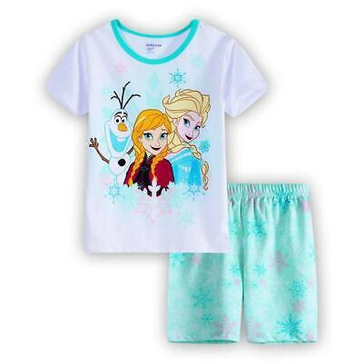 kids Girls Frozen Anna and Elsa short sleeve summer pyjama pjs size1-6 sleepware
