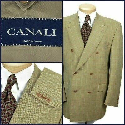 Canali Mens Double Breasted Jacket Size US 46L Gold Wool Windowpane Blazer Italy