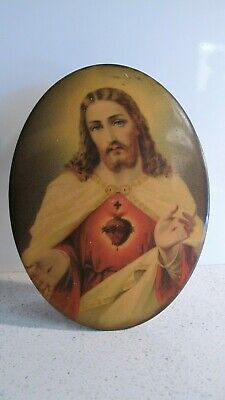 Vintage  Oval Tin Religious Picture Of Jesus Christ