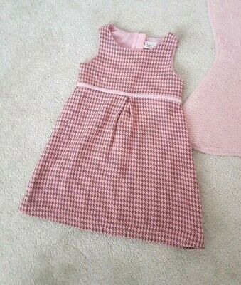Girls Next Dress Pink Dog Tooth Pinafore Thick Winter age size  2-3