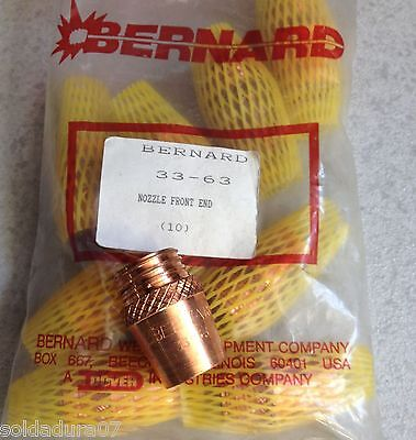 10 Bernard™ Welding Model 33-63 High Temp Cone Nozzle Series Mig Guns Made USA
