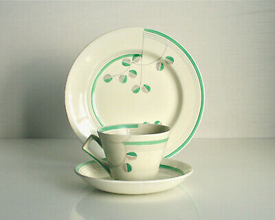 Art Deco trio. Cup saucer plate. Vintage Leighton Pottery B. & L. B. Green grey.