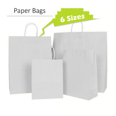 White Paper Party Gift Bags Take Away Twisted Handles - Small Medium Large