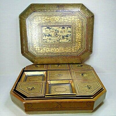 Vintage Chinese Lacquer box, 20th century.  There stamped.