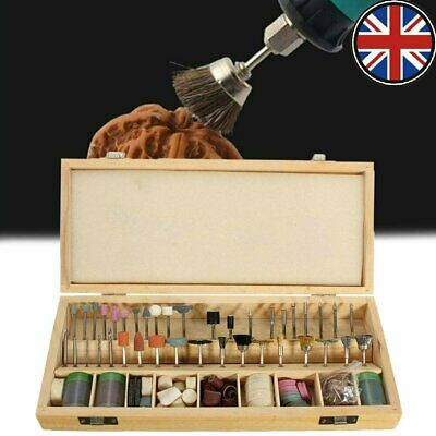 222Pcs Rotary Drill Tool Accessories Bit Set Polishing Sanding Kit W/ Wood Case