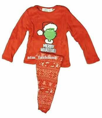 Primark The Grinch Kid's PJ's Unisex Boys Girls Pyjama Christmas Red Nightwear