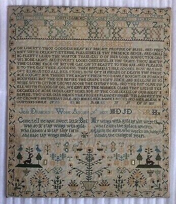 Rare Antique 1827 Literary Sampler by Jean Diamond - Poetry Genealogy Needlework