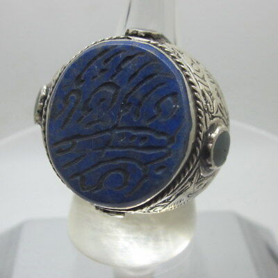 Islamic Rings men Muslim Silver 925 Lapis Arabic Luck Letter الإسلامية الله مسلم