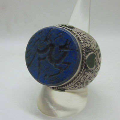 Islamic Rings men Muslim Silver 925 Lapis Arabic Bless Deer الإسلامية الله مسلم