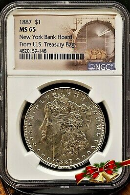 1887 SILVER MORGAN DOLLAR New York Bank Hoard From U.S. Treasury Bag $1 NGC MS65