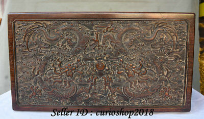 """16"""" Old China Huanghuali Wood Dynasty Carving Dragon Loong Storage Box Cabinet"""