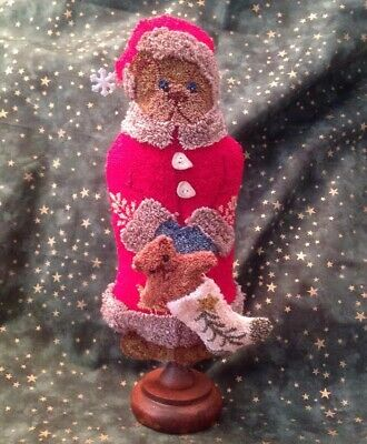 "Primitive Folk Art Punch Needle Pattern, ""Playing Santa"" Makedo"