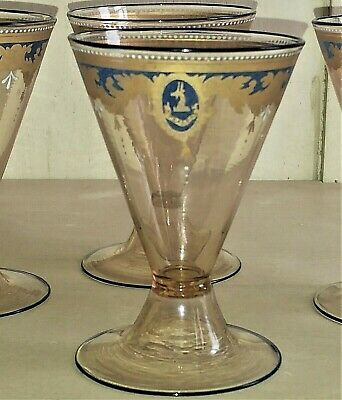 Exquisite Italian Antique Venetian Gilded Red Wine Glass with Armorial Crest
