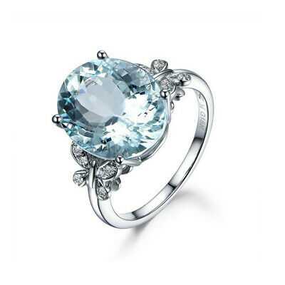 Fashion 925 Silver Aquamarine Ring Woman Wedding Promise Jewelry Gift Size 8