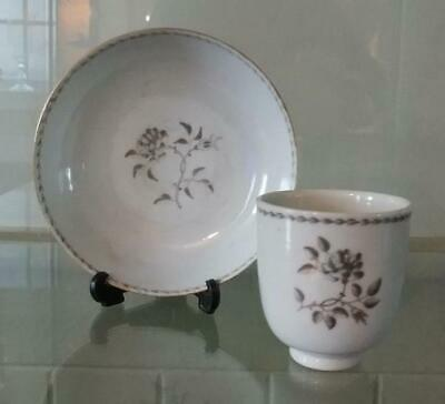 Qianlong Chinese en Grisaille and Bianco Sopra Bianca Porcelain Cup & Saucer