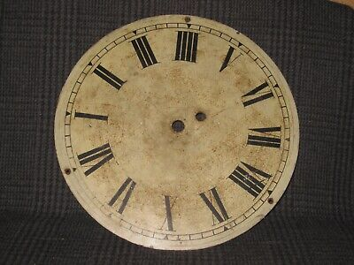 """Antique Fusee Wall Clock Painted Dial 12"""" Diameter"""